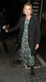Agyness Deyn paired this floral maxi-dress with combat boots while out in London.