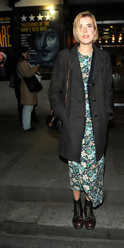 Agyness Deyn was seen leaving Trafalgar Studios in London wearing a pair of rich brown lace-up ankle boots.