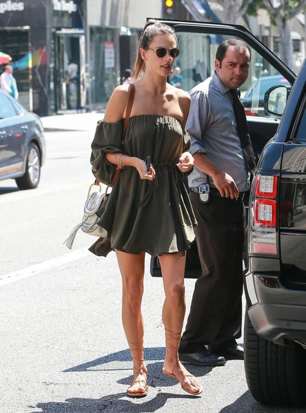 Alessandra Ambrosio Off-the-Shoulder Dress
