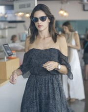 Alessandra Ambrosio stepped out in West Hollywood wearing the Michael Kors Abela II cateye sunglasses.