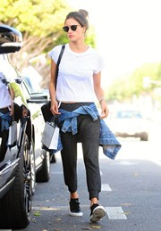Alessandra Ambrosio got dressed down in a plain white Re/Done tee for a day of shopping in Santa Monica.