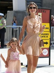 Alessandra stepped out in a nude-colored ruffled dress while attending the LA Film Festival.