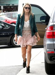 Ali Larter added an ultra-feminine touch to her ensemble with a tiered pink mini skirt during a day out in LA.
