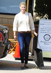 A loose silhouette and subtle ruffles put a vintage-inspired twist on Ali Larter's airy blouse.