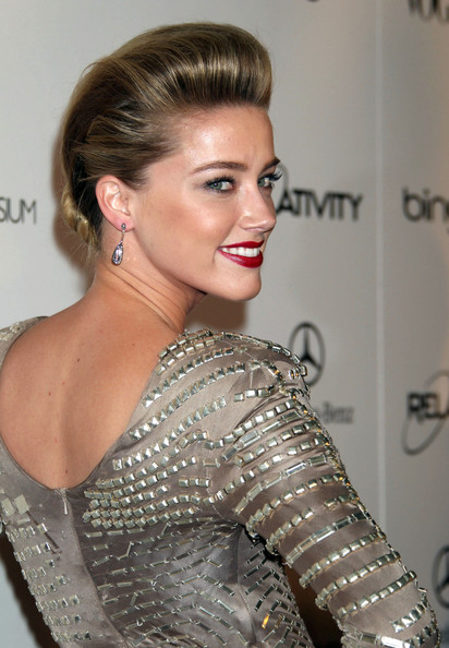 Amber Heard Dangling Gemstone Earrings