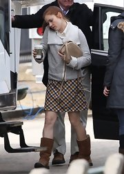 Amy Adams headed to set in a classic girl-next-door plaid skirt.