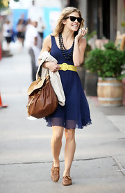 AnnaLynne McCord stuck to neutrals in NYC carrying a two-tone napp leather Ostrict Flap bag.