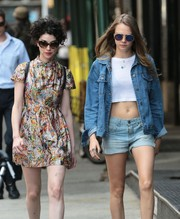 Cara Delevingne accessorized with a pair of Sunday Somewhere round shades for a stroll in New York City.