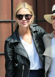 Ashley Benson accessorized with a pair of modern shades while out and about in New York City.