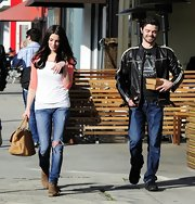 Ashley Greene enjoyed a walk with friends as she sports cool ripped jeans.