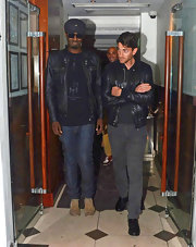 Iddo Goldberg threw on a fitted leather jacket during his Bachelor'sParty at the Le Baron Nightclub in London.