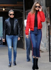 Yolanda Hadid cut a slim figure in her Mother Denim jeans that she paired with a black moto jacket while out with daughter Gigi.