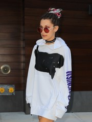 Bella Hadid channeled her inner hippie with these red round Sunday Somewhere sunglasses while out in New York City.