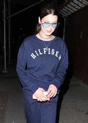 Bella Hadid looked cute in her pastel-blue aviators while out in New York City.
