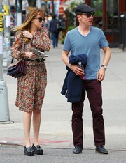 For her bag, Dakota Johnson chose a chunky, multicolored shoulder bag by Marni.