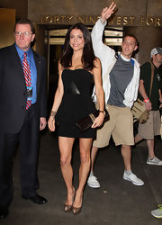 Bethenny Frankel left NBC Studios wearing a sexy pair of bronze peep toe pumps.