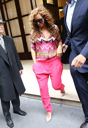 Beyonce's colorful print top was from a super girly collection.