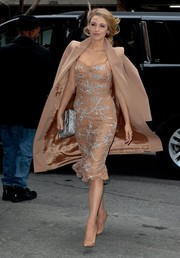 Blake Lively made jaws drop in this beaded nude Michael Kors dress while out and about in New York City.