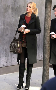 Blake Lively was pure sophistication on the set of 'Gossip Girl' in a fitted black pea coat.