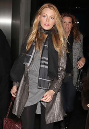 Blake paired a solid scarf with a plaid one for this bundled up look.