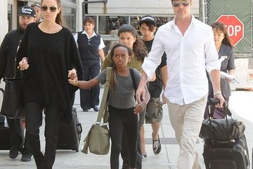 Brad Pitt Maddox Jolie-pitt The Jolie-Pitt Family Arriving On A Flight At LAX