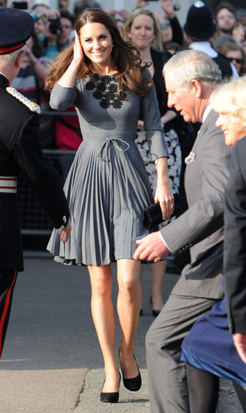 Kate Middleton in Orla Kiely's Pleated Gray Day Dress