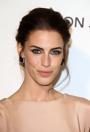 Jessica Lowndes rocked a pair of onyx and diamond studs while attending Elton John's Oscar Viewing Party.