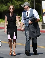 David Lucado chose a classic suit vest to pair over his button down for his trip to the mall with girl friend Britney Spears.