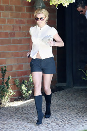 Britney Spears wears a pair of stretchy knee-high boots with a stiletto heel while out in LA.