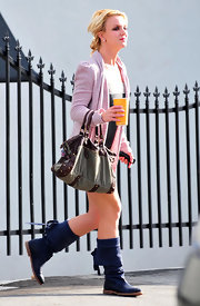 Britney Spears indulged in a little shopping in Santa Monica wearing fold-over mid-calf boots.