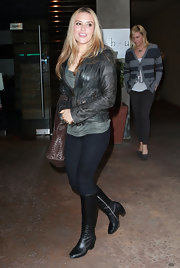 Brooke stepped out in black leather boots. She wore the low-heeled knee high boots with black leggings and a leather jacket.