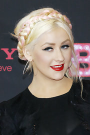 Christina Aguilera rocked a Heidi hairdo at the 'Burlesque' photo call in Berlin. Baby pink strands accented her traditional braid.