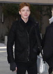 Cameron Monaghan stayed warm in a black utility jacket while giving an interview to TMZ.