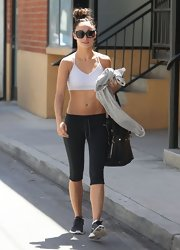 Cara Santana chose a sports bra for her workout look.