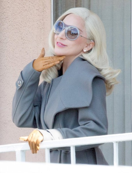 Lady Gaga was spotted on the set of 'American Horror Story: Hotel' wearing a hip pair of bug-eye sunglasses.
