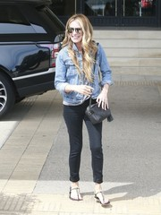 Cat Deeley teamed her jacket with cuffed black skinny jeans.