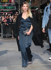 Ashley Benson went matchy-matchy with this blue silk pants and top combo for her appearance on 'Good Morning America.'