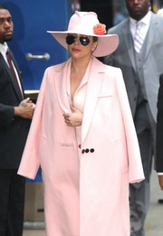 Lady Gaga headed to 'Good Morning America' wearing a sweetened-up cowboy hat by Gladys Tamez.