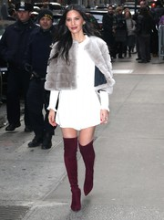 Olivia Munn added a splash of color with a pair of burgundy thigh-high boots by Stuart Weitzman.
