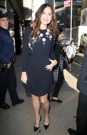 Minnie Driver kept it ladylike in a little black dress with a floral-embellished bodice for her 'Good Morning America' appearance.