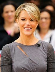 Megyn Kelly was retro-chic with her short side-parted hairstyle while visiting 'Access Hollywood.'
