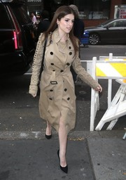 Anna Kendrick was fall-chic in a beige lattice-sleeve trenchcoat while visiting 'The Today Show.'