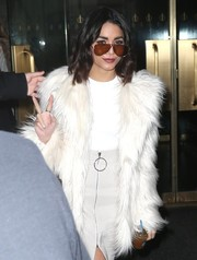 Vanessa Hudgens accessorized with a pair of oversized aviators while visiting 'The Today Show.'