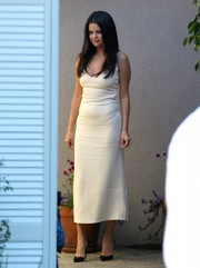 Selena Gomez looked effortlessly sexy in an ivory Atea Oceanie slip dress during the Day of Indulgence Summer Party.