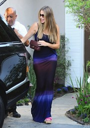 Sofia Vergara sheathed her famous curves in a tie-dye maxi dress by Young Fabulous & Broke for the Day of Indulgence Summer Party.