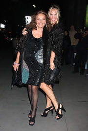 "Diane is seen here with her ""Philomena"" clutch perfectly matching her sequined dress."