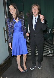 Nancy Shevell chose a royal blue wrap dress for a date with hubby Paul McCartney.