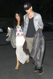 Vanessa Hudgens attended a Coldplay concert in Hollywood wearing a tall tan pair of wedges.