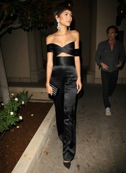 Zendaya Coleman styled her look with a black and silver striped box clutch.