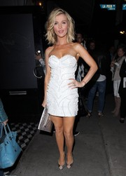 Joanna Krupa turned plenty of heads in this textured white strapless mini as she made her way to Craig's Restaurant.